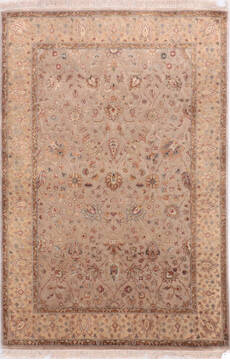 Indian Jaipur Beige Rectangle 4x6 ft Wool and Silk Carpet 136546