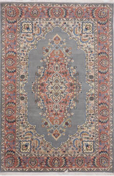 Indian Mahi Blue Rectangle 4x6 ft Wool Carpet 136574