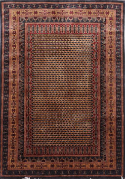 Indian Bokhara Black Rectangle 5x7 ft Silk Carpet 136575