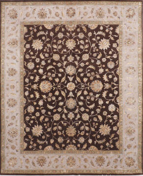 Indian Jaipur Brown Rectangle 8x10 ft Wool and Silk Carpet 136624