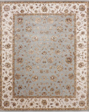 Indian Jaipur Blue Rectangle 8x10 ft Wool and Silk Carpet 136631
