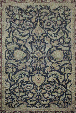 Indian Jaipur Black Rectangle 12x18 ft Wool Carpet 136644