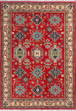 "Kazak Red Hand Knotted 6'0"" X 8'6""  Area Rug 700-136739"