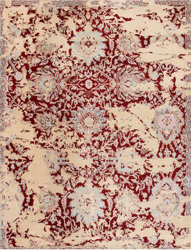 "Agra Red Hand Knotted 8'0"" X 10'0""  Area Rug 902-136757"