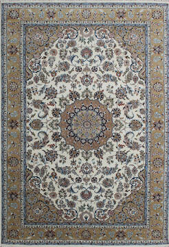 Indian Nain Beige Rectangle 7x10 ft Wool and Viscose Carpet 136761