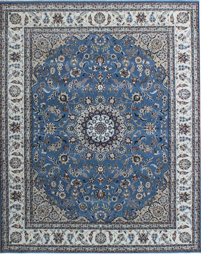 Indian Nain Blue Rectangle 8x10 ft Wool and Viscose Carpet 136762
