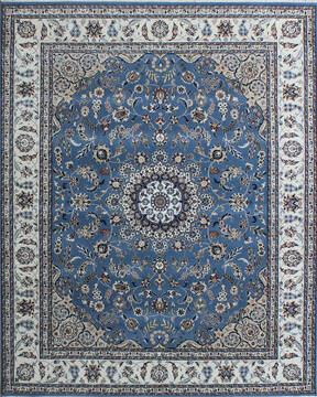 Indian Nain Blue Rectangle 6x9 ft Wool and Viscose Carpet 136764