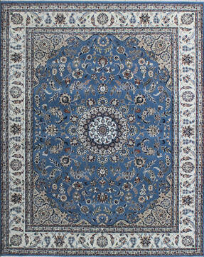 Indian Nain Blue Rectangle 4x6 ft Wool and Viscose Carpet 136765