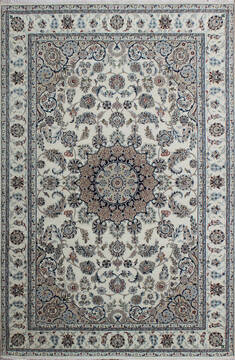 Indian Nain Beige Rectangle 4x6 ft Wool and Viscose Carpet 136781