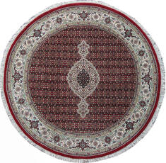 Indian Mahi Red Round 5 to 6 ft Wool and Silk Carpet 136782