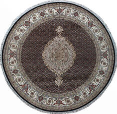 Indian Mahi Black Round 5 to 6 ft Wool and Silk Carpet 136784