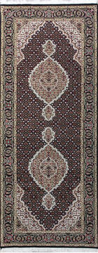 Indian Mahi Black Runner 6 to 9 ft Wool and Silk Carpet 136785