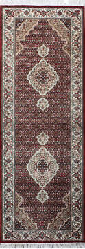 Indian Mahi Red Runner 6 to 9 ft Wool and Silk Carpet 136786