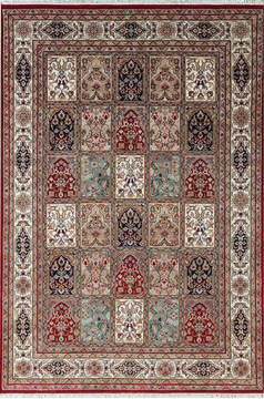 Indian Bakhtiar Multicolor Rectangle 5x8 ft Wool Carpet 136811