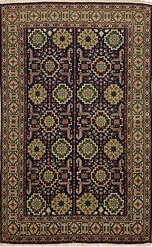 Persian Tabriz Black Rectangle 3x5 ft Wool Carpet 136992