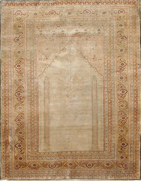 "Tabriz Beige Hand Knotted 4'2"" X 5'5""  Area Rug 254-136995"