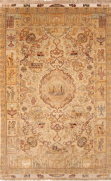 Persian Tabriz Beige Rectangle 7x10 ft Wool and Silk Carpet 136996
