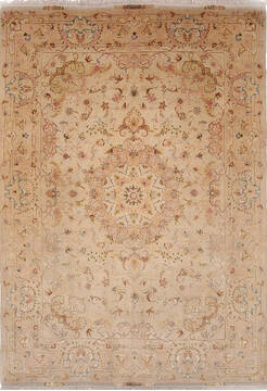 Persian Tabriz Beige Rectangle 7x10 ft Wool Carpet 136997