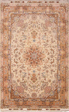 Persian Tabriz Beige Rectangle 7x10 ft Wool and Silk Carpet 136998