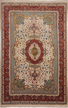 Persian Tabriz Beige Rectangle 7x10 ft Wool and Silk Carpet 136999