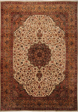 "Tabriz Beige Hand Knotted 10'0"" X 13'10""  Area Rug 254-137000"