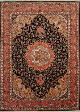 Persian Tabriz Black Rectangle 10x13 ft Wool and Silk Carpet 137005