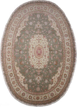 "Tabriz Green Oval Hand Knotted 9'10"" X 13'1""  Area Rug 254-137006"