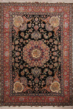 Persian Tabriz Black Rectangle 8x11 ft Wool and Silk Carpet 137008