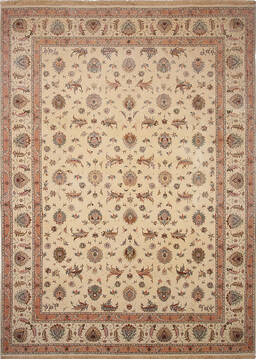 Persian Tabriz Beige Rectangle 10x13 ft Wool and Silk Carpet 137009