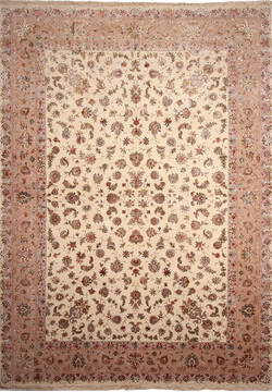 Persian Tabriz Beige Rectangle 12x18 ft Wool and Silk Carpet 137010