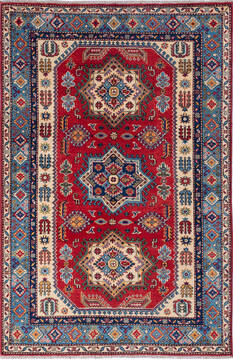"Kazak Red Hand Knotted 3'11"" X 5'11""  Area Rug 700-137047"