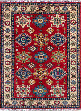Afghan Kazak Red Rectangle 4x6 ft Wool Carpet 137048