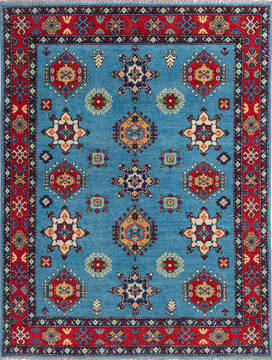 Afghan Kazak Blue Rectangle 4x6 ft Wool Carpet 137050