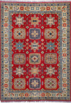 "Kazak Red Hand Knotted 6'0"" X 8'4""  Area Rug 700-137053"