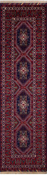 "Khan Mohammadi Red Runner Hand Knotted 2'9"" X 9'9""  Area Rug 700-137060"