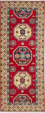 "Kazak Red Runner Hand Knotted 2'8"" X 6'8""  Area Rug 700-137080"