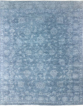 Indian Modern Blue Rectangle 9x12 ft Wool and Cotton Carpet 137109