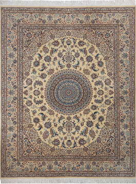 "Pak-Persian Beige Hand Knotted 6'8"" X 8'6""  Area Rug 700-137357"