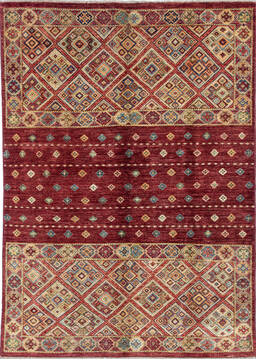 "Chobi Red Hand Knotted 4'10"" X 6'6""  Area Rug 700-137360"