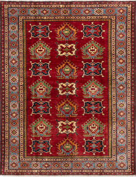 "Kazak Red Hand Knotted 4'10"" X 6'3""  Area Rug 700-137430"