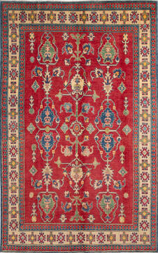 "Kazak Red Hand Knotted 5'2"" X 8'2""  Area Rug 700-137434"