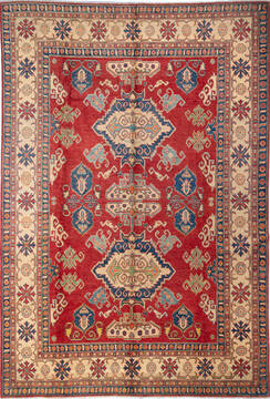 Afghan Kazak Red Rectangle 8x11 ft Wool Carpet 137435