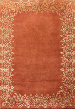 Indian Tibetan Red Rectangle 6x9 ft Wool Carpet 137457