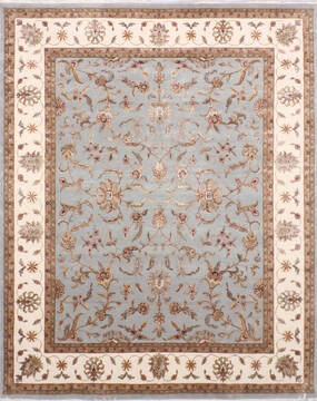 Indian Jaipur Blue Rectangle 8x10 ft Wool and Raised Silk Carpet 137486