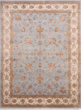Indian Jaipur Blue Rectangle 9x12 ft Wool and Raised Silk Carpet 137487