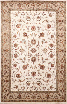 Indian Jaipur White Rectangle 6x9 ft Wool and Raised Silk Carpet 137491