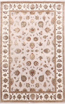 Indian Jaipur Grey Rectangle 6x9 ft Wool and Raised Silk Carpet 137495