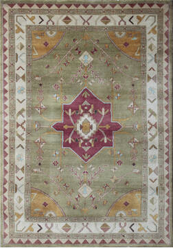 "Agra Green Hand Knotted 6'0"" X 9'0""  Area Rug 902-137505"