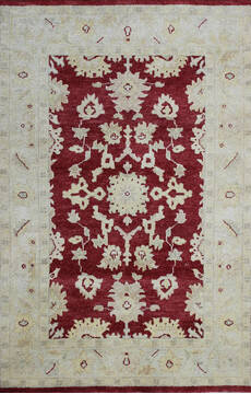 Indian Agra Red Rectangle 4x6 ft Wool Carpet 137506