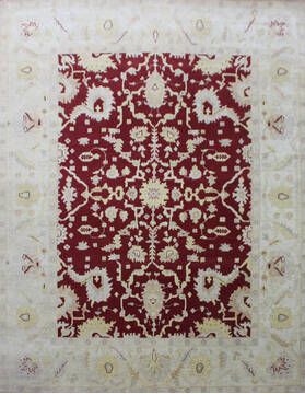 "Agra Red Hand Knotted 9'0"" X 12'0""  Area Rug 902-137509"